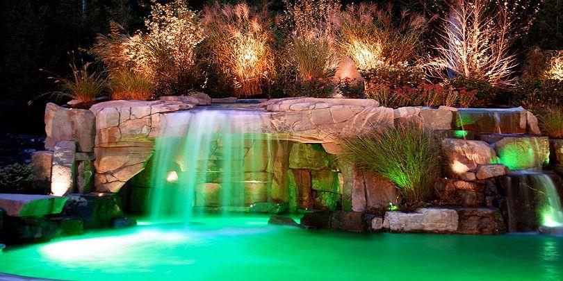 Lighting with Waterfall Design #swimmingpool #pool #waterfall #light