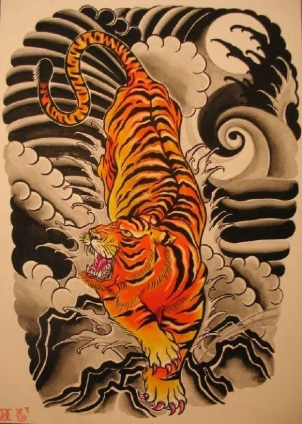 Japanese tiger tattoo flash tattoo art pinterest for Japanese tattoo art