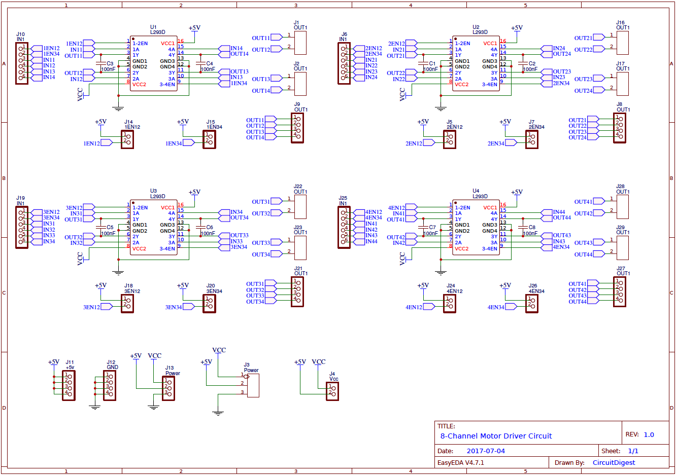 8 Channel Motor Driver Circuit Diagram Electronic Diagrams And Projects