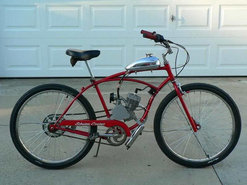 My Two Stroked Motorized Schwinn Cruiser Motorized Bicycle