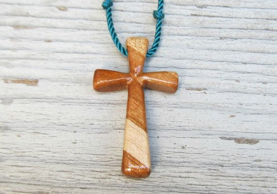 Wood Cross Pendant  Cherry & Maple  Men's Jewelry by TheLotusShop on Etsy, $14.95