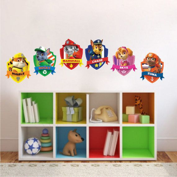Paw Patrol Bedroom Wall Decal Sticker Removable Kids Wall Mural