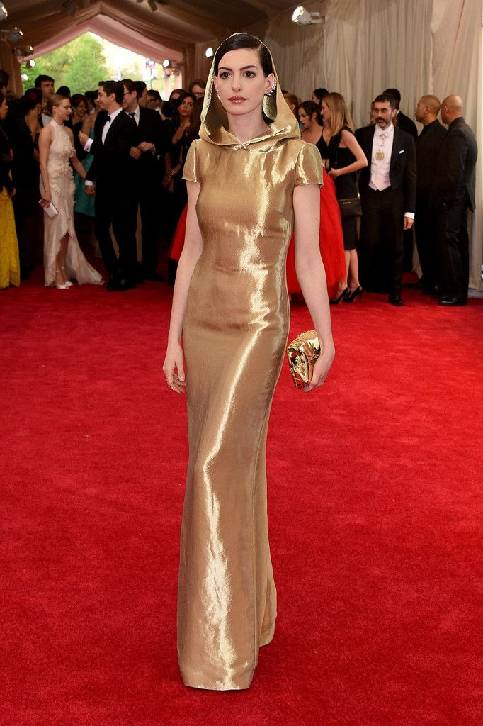 ebc6f8b80c5 Ally wants this style dress with the hood lined with camo for formal. Anne  Hathaway in Ralph Lauren