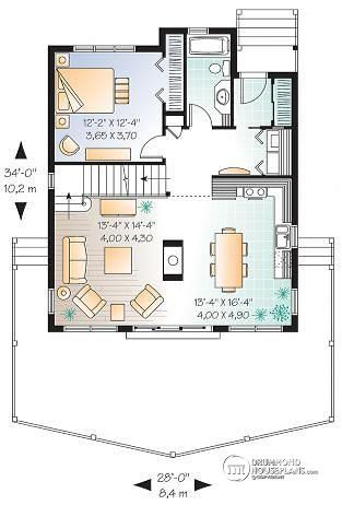 1st Level A Frame Wood Cabin House Plan With Mezzanine And Open Floor Plan  Layout   The Skylark