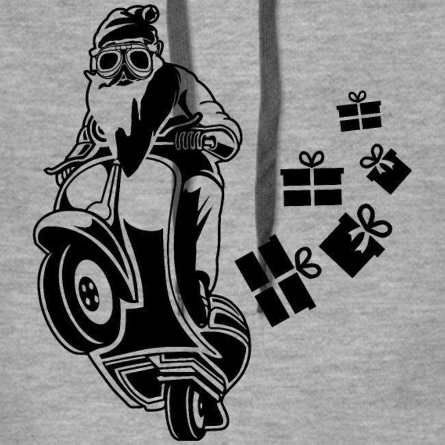 WEIHNACHTSMANN MIT BRILLE, MOTORRAD CARTOON, SHIRT   Frauen Premium Hoodie – #br…