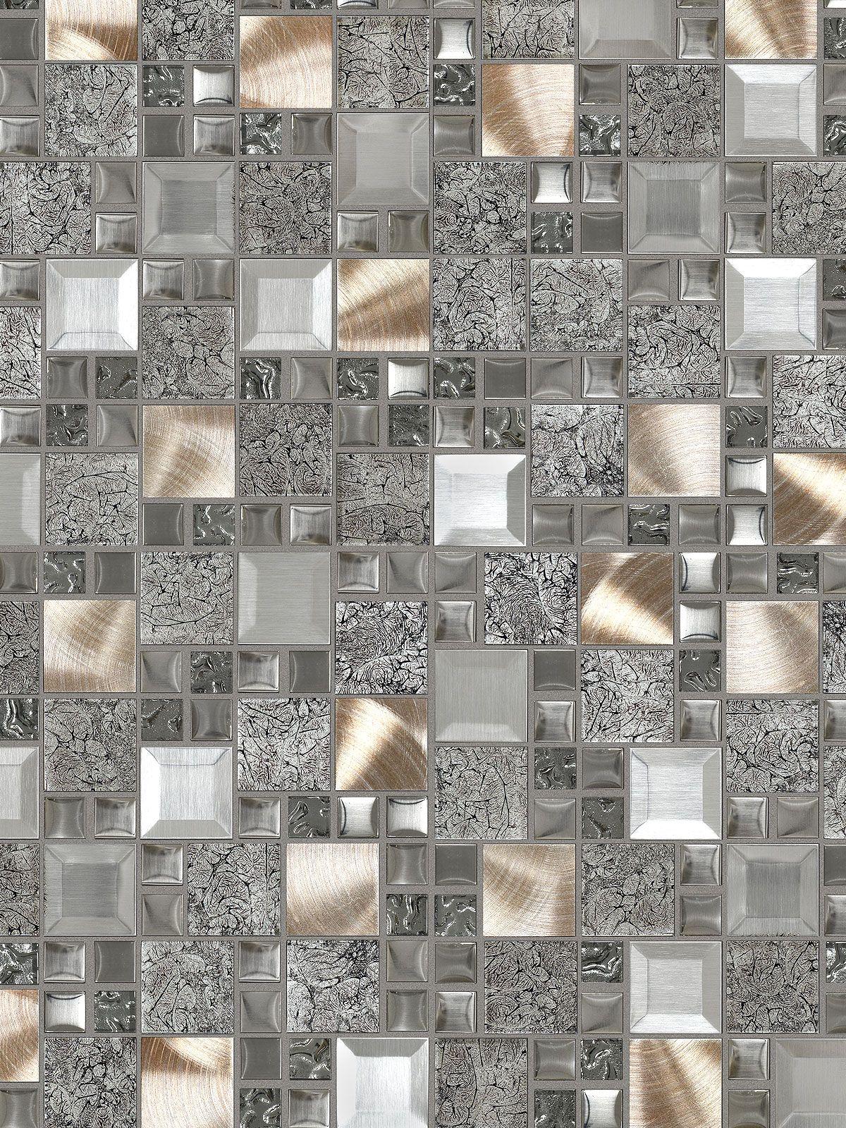 Modern Random Mix Steel Kitchen Backsplash//Bathroom Wall//Home Decor//Fireplace Surround Glass II//Stainless Steel and Glass Mixed Metal Tile