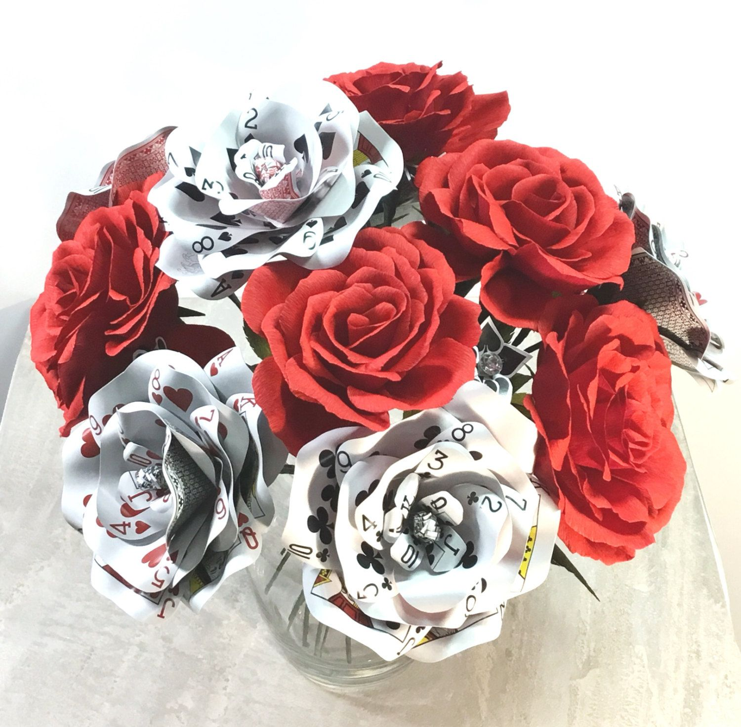 Playing card flower arrangement this listing is for 1 dozen paper playing card flower arrangement this listing is for 1 dozen paper flowers with 6 crepe paper roses 6 playing card flowers and 6 small suited flowers with mightylinksfo
