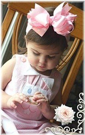 Pink Polka Satin Baby Headband