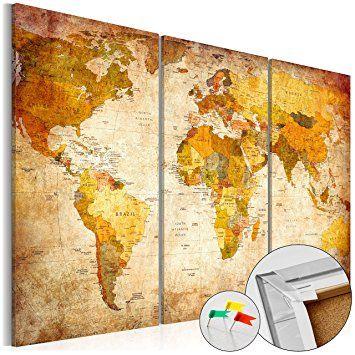 Weltkarte Mit Kork Rückwand 90x60 Cm   Bild Auf Vlies Leinwand