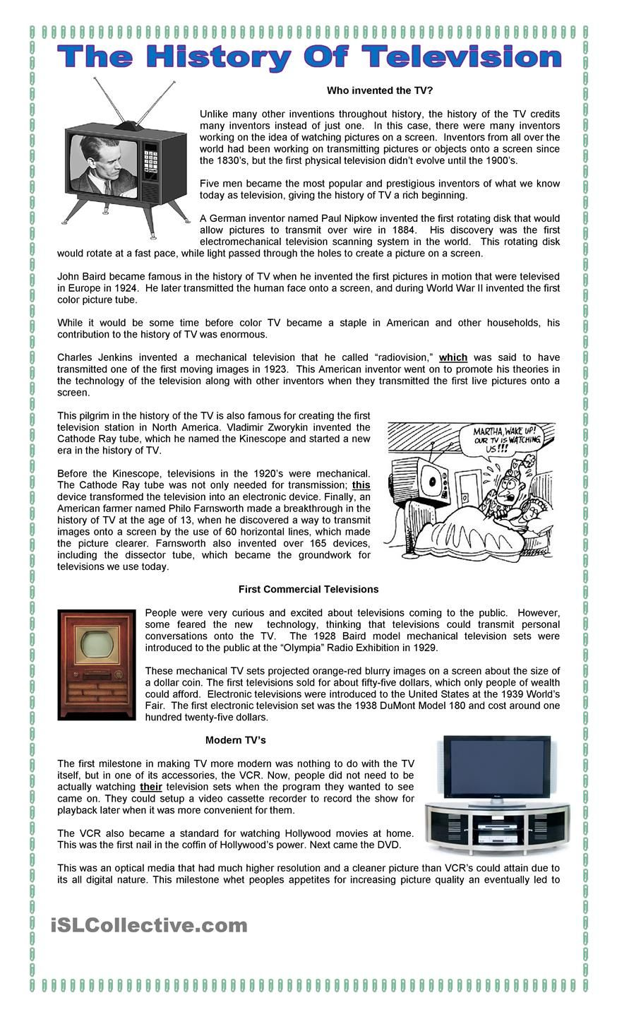 The History of TV | English worksheets | Pinterest | History, TVs ...