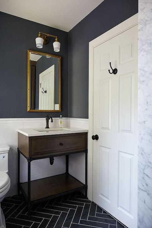 Interior Dark Blue Bathroom blue and gray kids bathroom features upper walls painted dark lower clad in