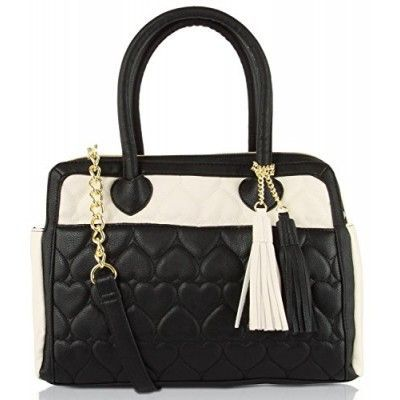 Betsey Johnson Be Mine Heart Tab Tassel Satchel Bag Purse Bone Black - BB16640