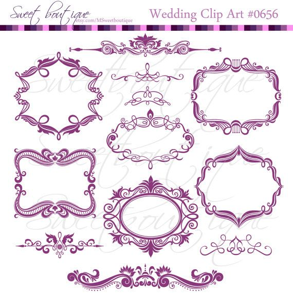 purple digital frames scrapbook border clipart by msweetboutique