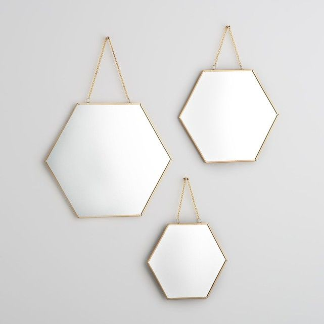 Lot de 3 miroirs hexagonaux n o en laiton dor ces 3 for Miroir hexagonal cuivre