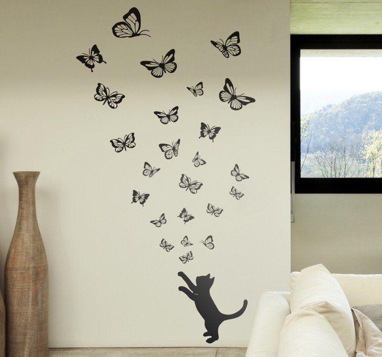 Wandtattoo Katze Und Schmetterlinge Deko