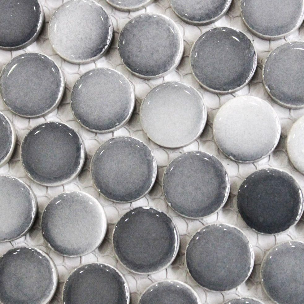 Gray penny round tile light grey gradient dark gray mosaics small daltile retro rounds round tile light grey gradient dark gray mosaics small kitchen penny tile dailygadgetfo Image collections