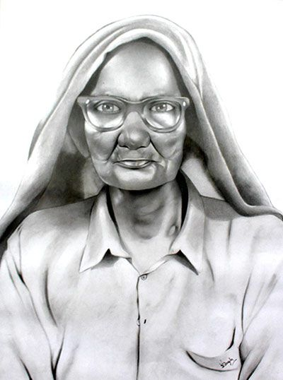 Charcoal Portrait by Kalabhumi Arts Student