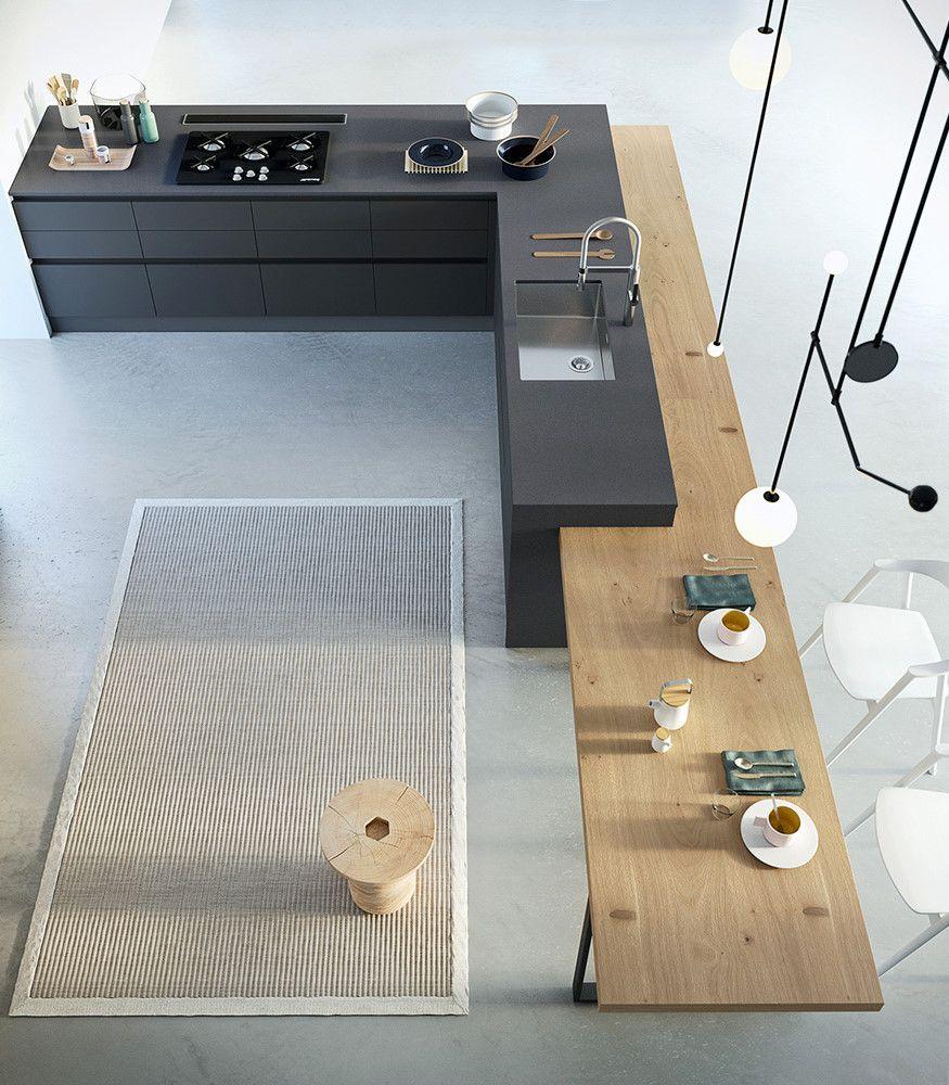 Prendi una cucina ad isola angolare, aggiungi un tavolo