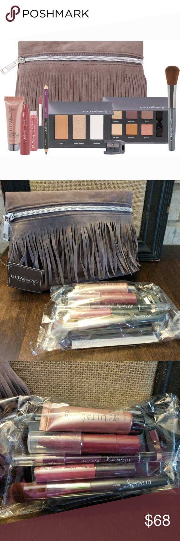 NEW Ulta Fringe Makeup Bag Gift Set Palette Gloss This is