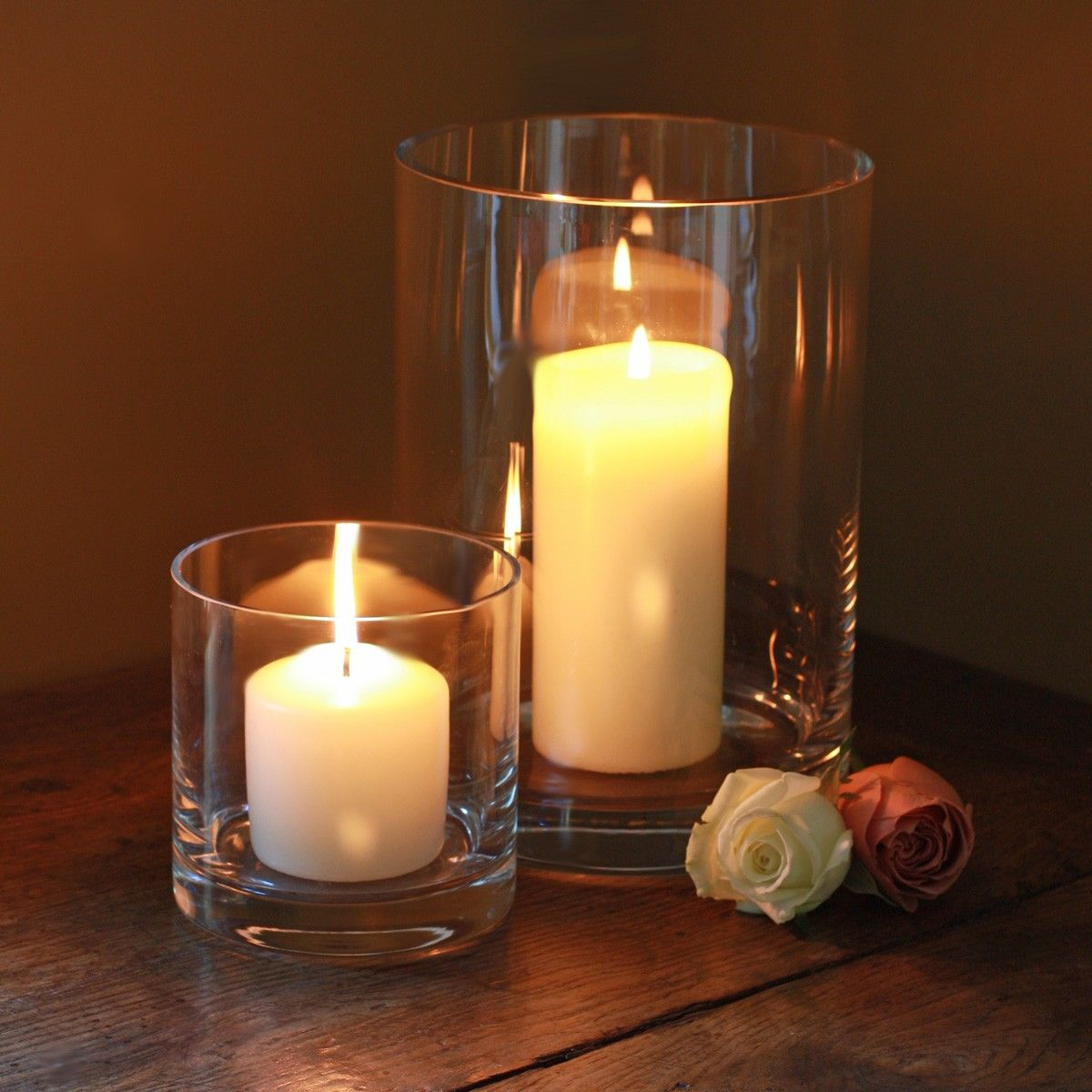 Enchanting Hurricane Vases For Dining Table Accessories Ideas Glass With Candle And Rose Flower