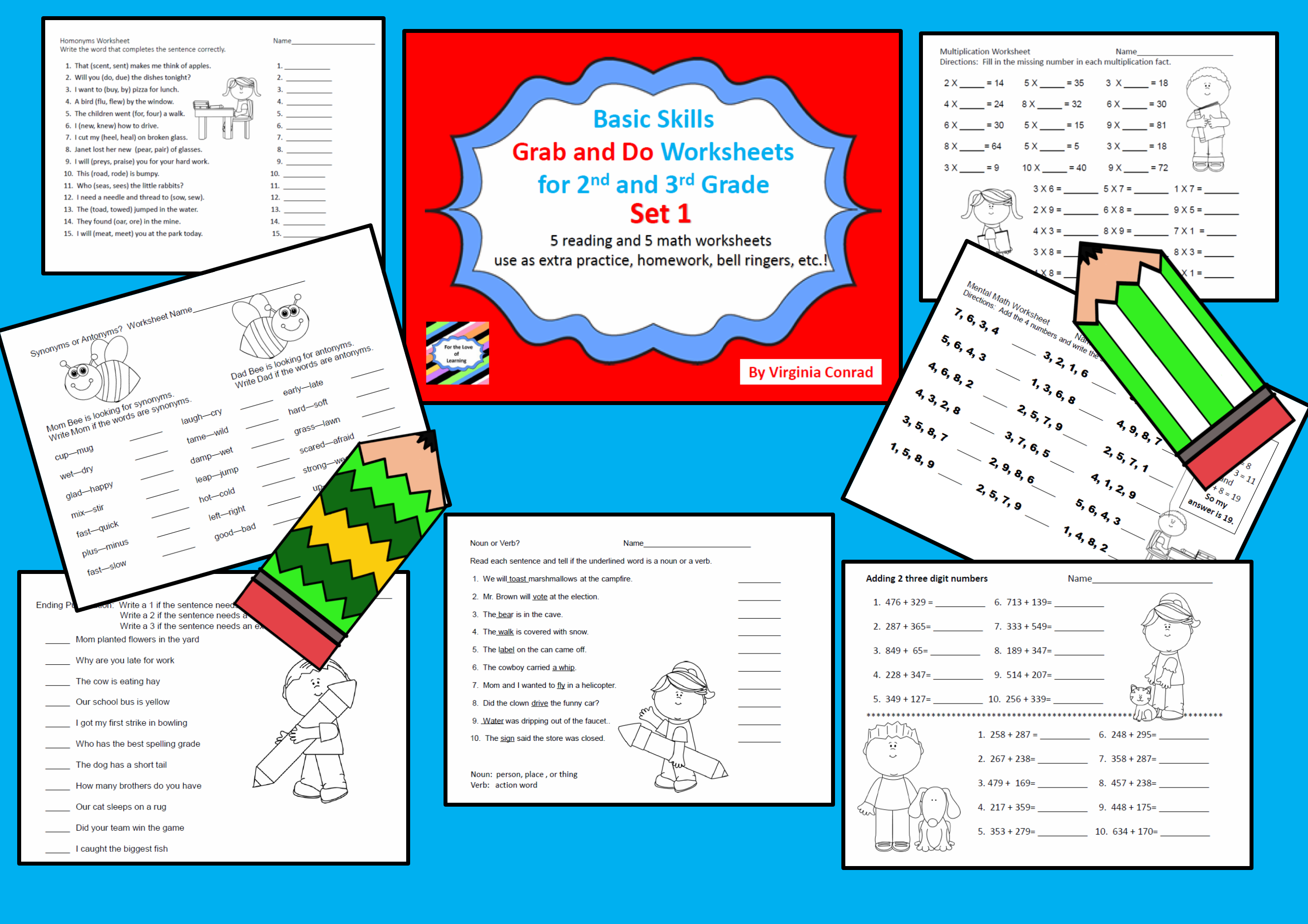 Basic Skills Grab And Do Worksheets For 2nd And 3rd Grades Set 1