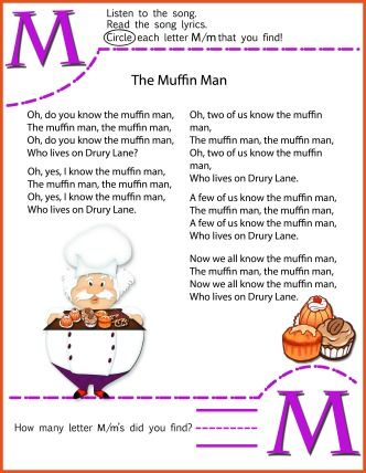 Circle The Letter M Worksheet And The Muffin Man Nusery Rhyme Song