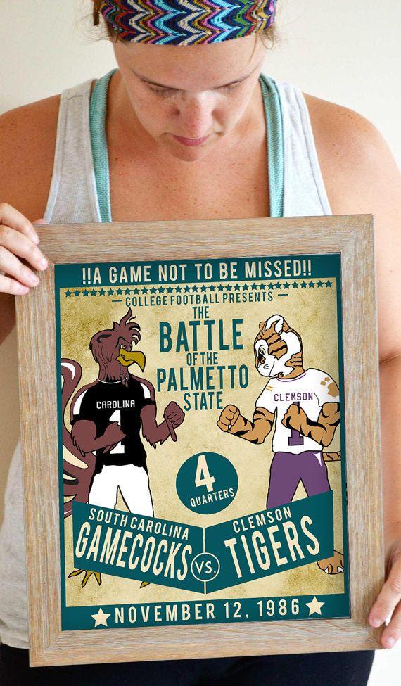 South Carolina Gamecocks Art Print Clemson by