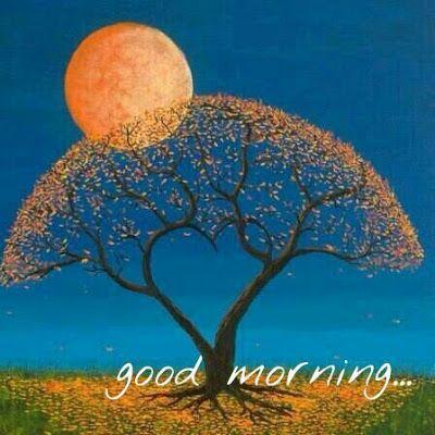 Good Morning Wish On Whatsapp Tree Art Moon Art Painting