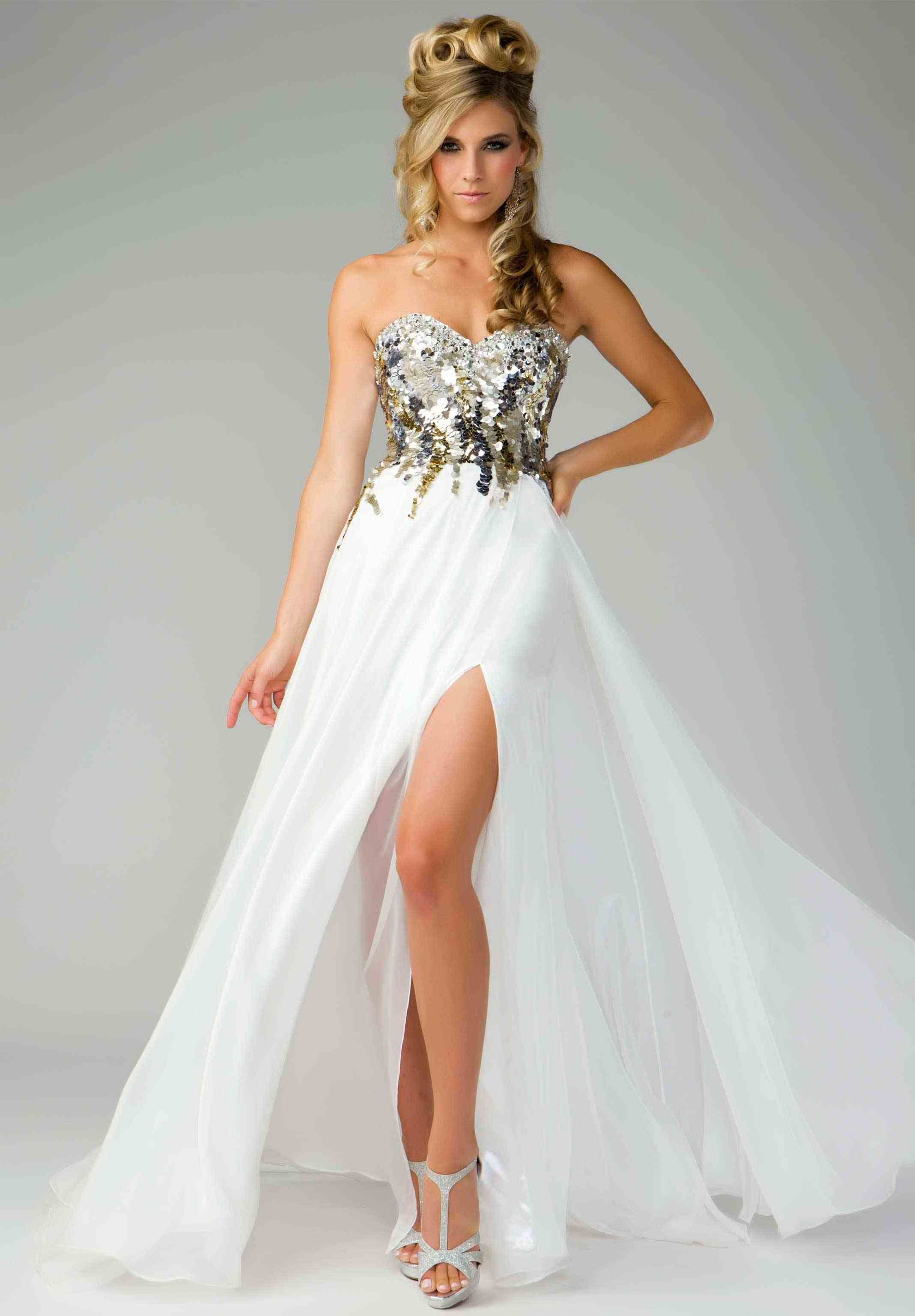 White gold sparkly prom dress prom pinterest