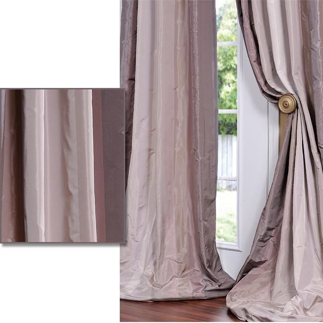 Plum/ Light Violet Striped Faux Silk Taffeta 96 Inch Curtain Panel |  Overstock.