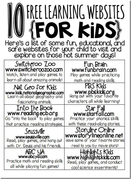 10 free learning websites for kids my kids have gone on some of these and they are great learning sites kiddos at home