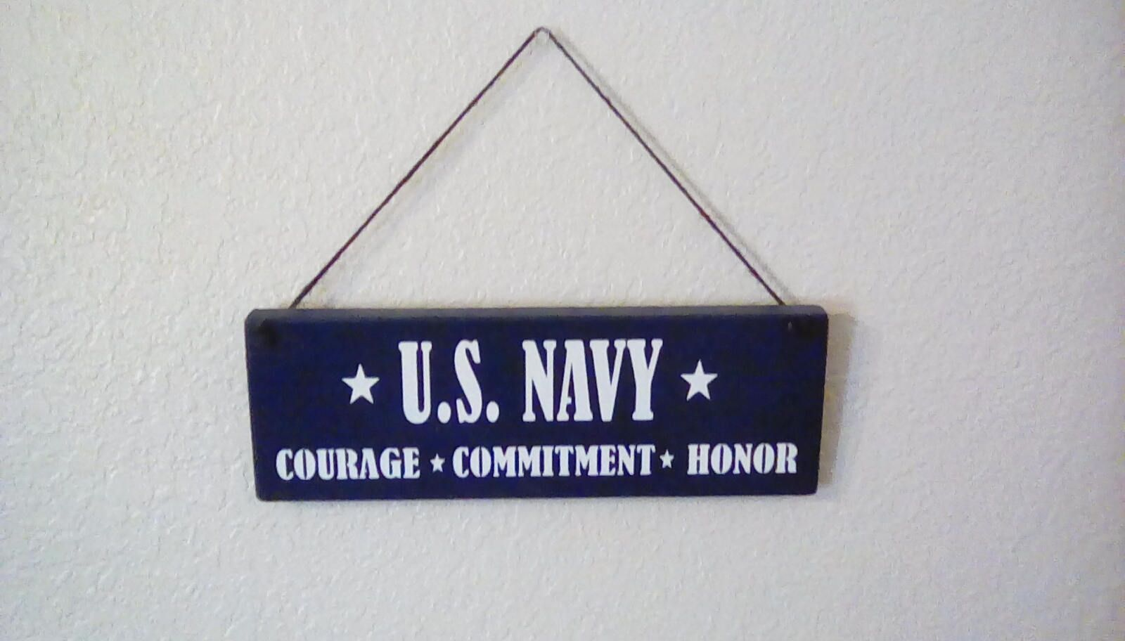 U S Navy Courage Commitment Honor Hand Made Stencil Wood Sign Pine