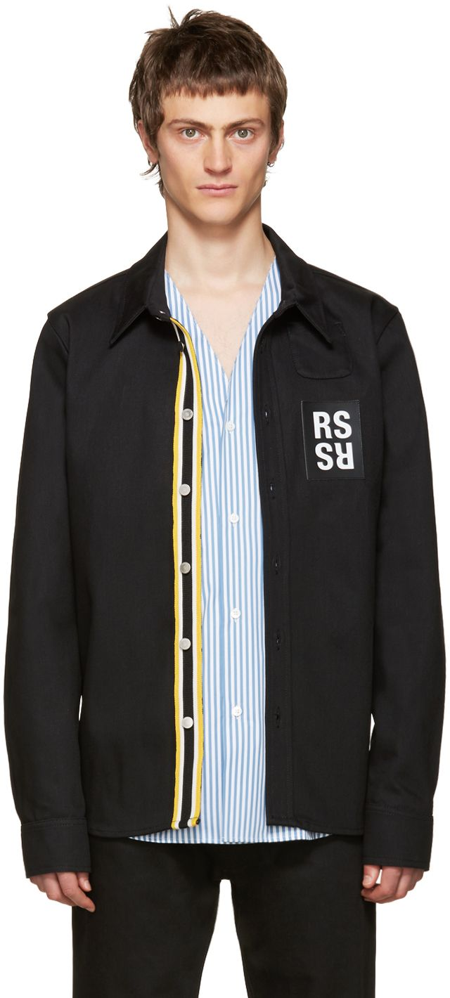 5a8dc7d12a2 Raf Simons  Black Denim Patch Shirt