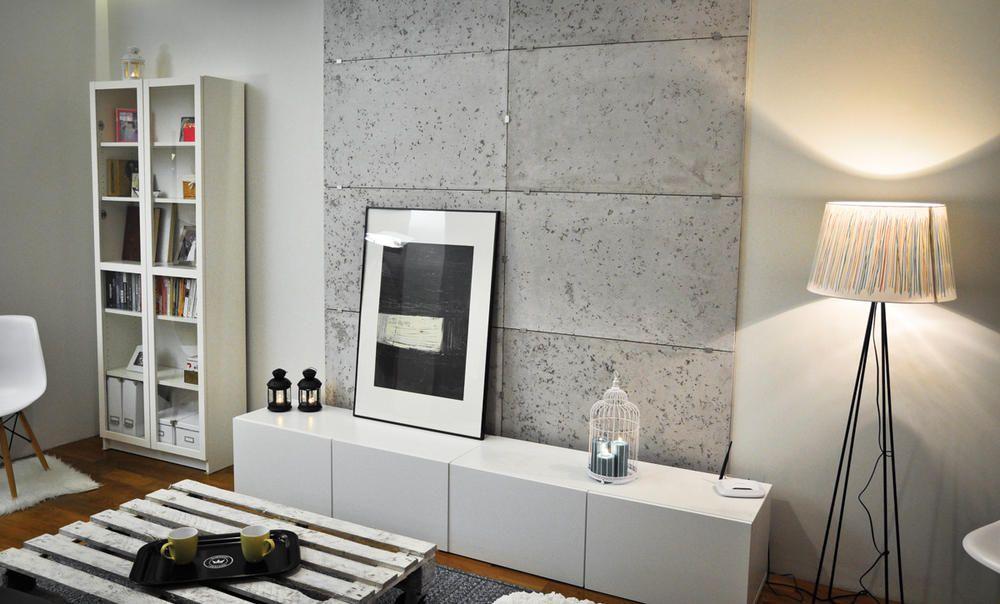 Roomido Wohnzimmer ~ Betonoptik wandgestaltung ideen zum streichen
