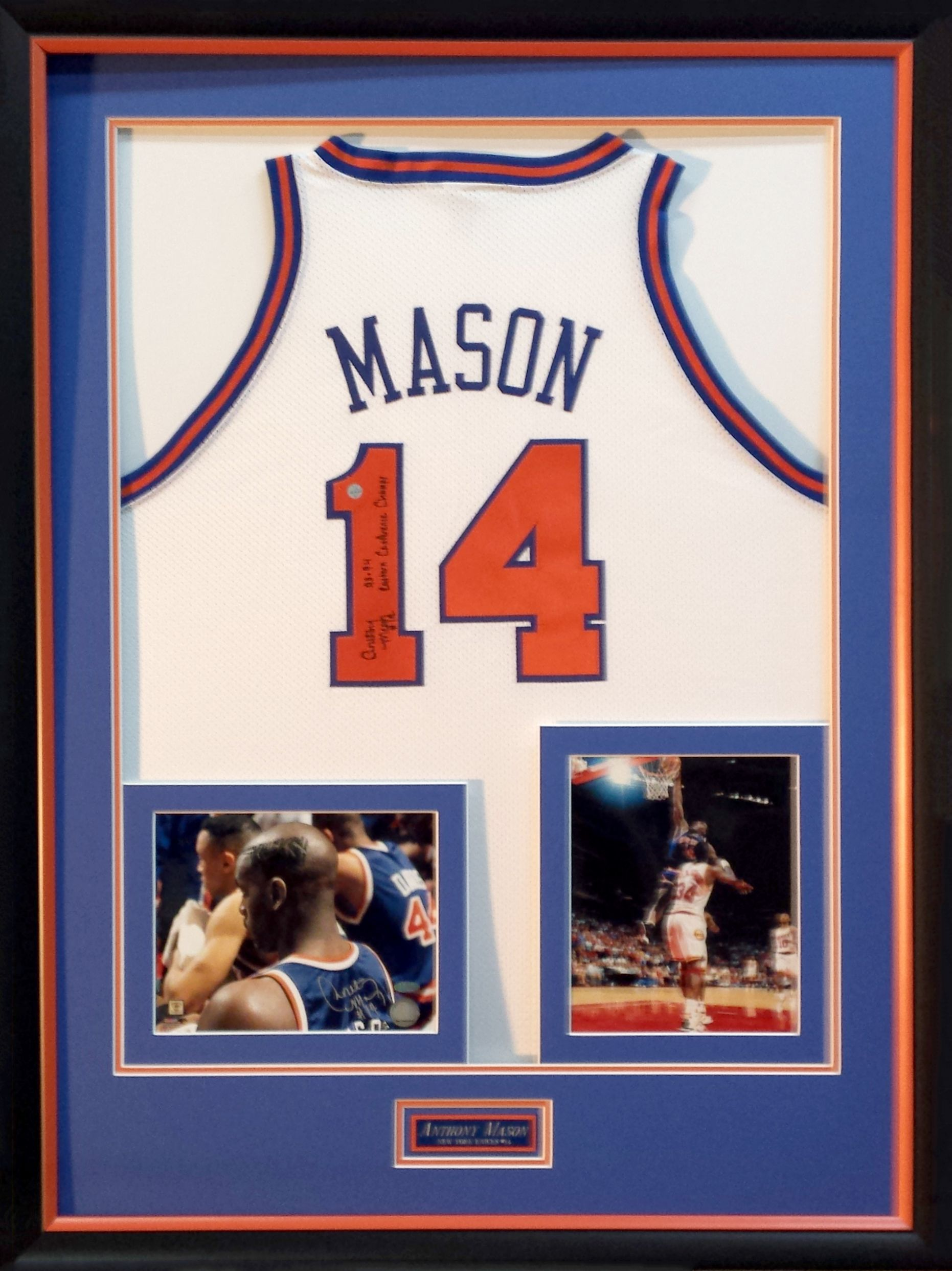 basketball jersey framed with specialty cut mat boards for signed photos and plaque in a black