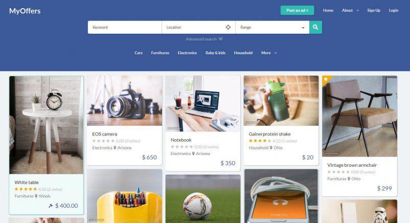 Myoffers Classified Advertising Website Template Like Offerup Com