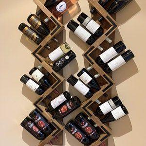 Zig Zag Wine Rack Rustic Wood Wall Mounted Wine Bottle Etsy Hanging Wine Rack Rustic Wine Racks Wine Rack Wall