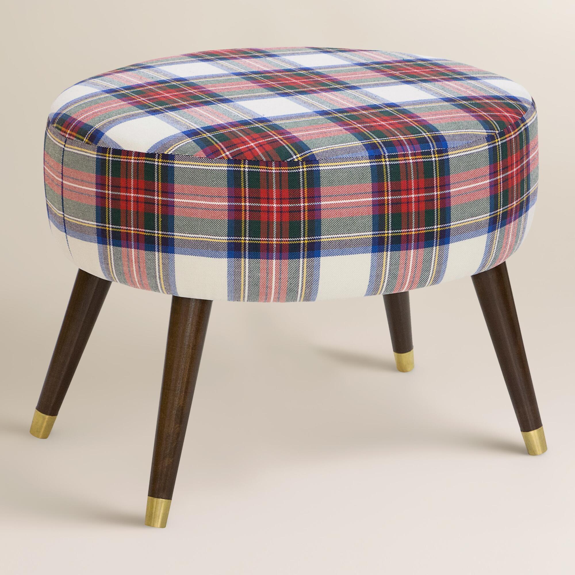 Awesome Oval Stewart Dress Plaid Upholstered Ottoman