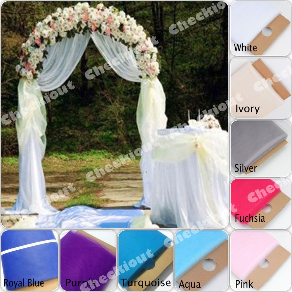 party city wedding 90 WHITE METAL ARCH 54 x40 Yards TULLE Wedding Party Prom Floral Decoration