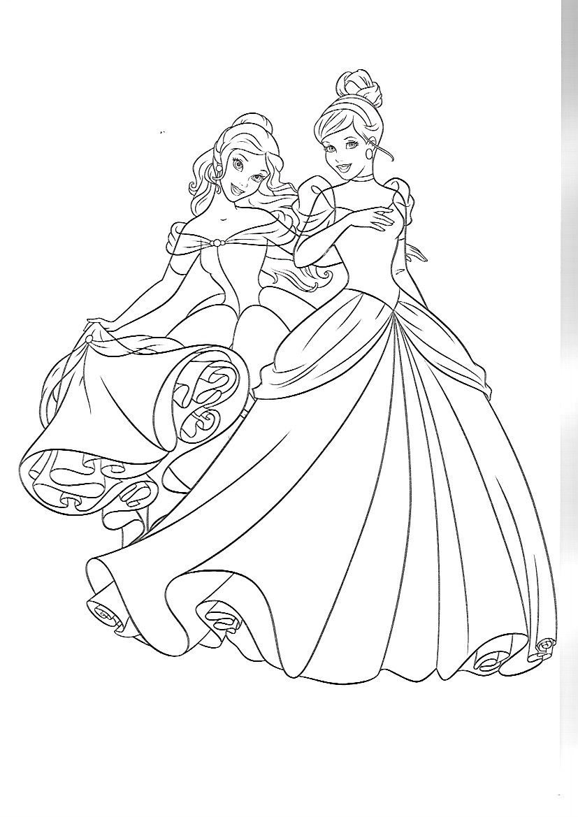 Belle and Cinderella Coloring Pages Disney coloring