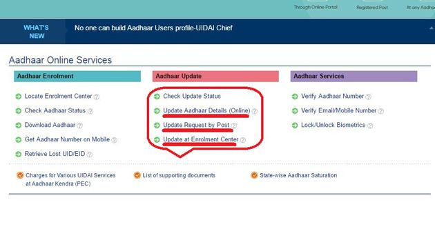 how to update your aadhar card details online step