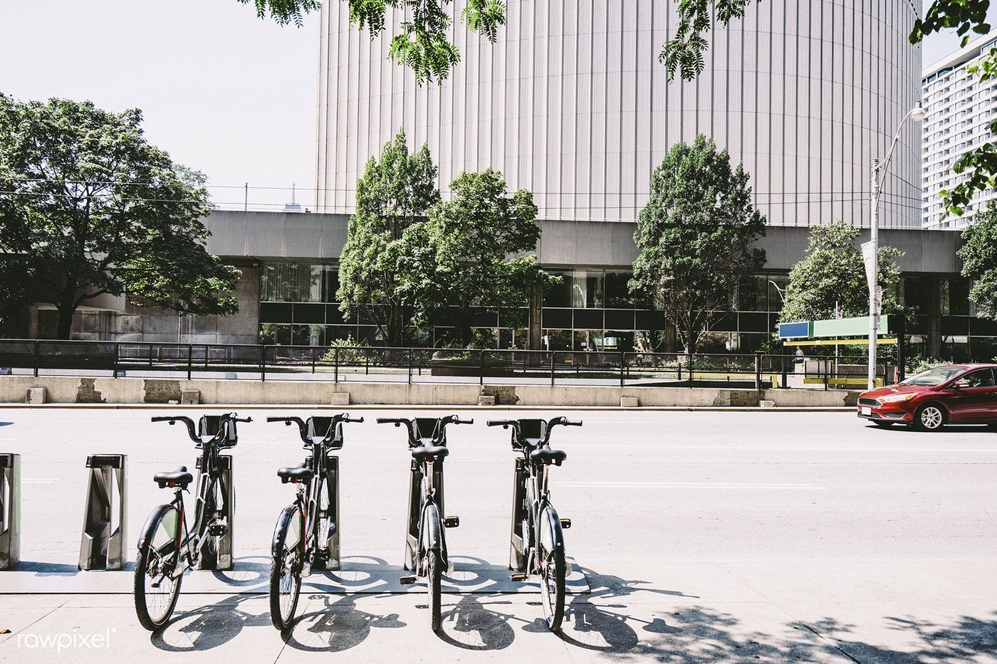 Bicycles by the road in toronto canada free image by