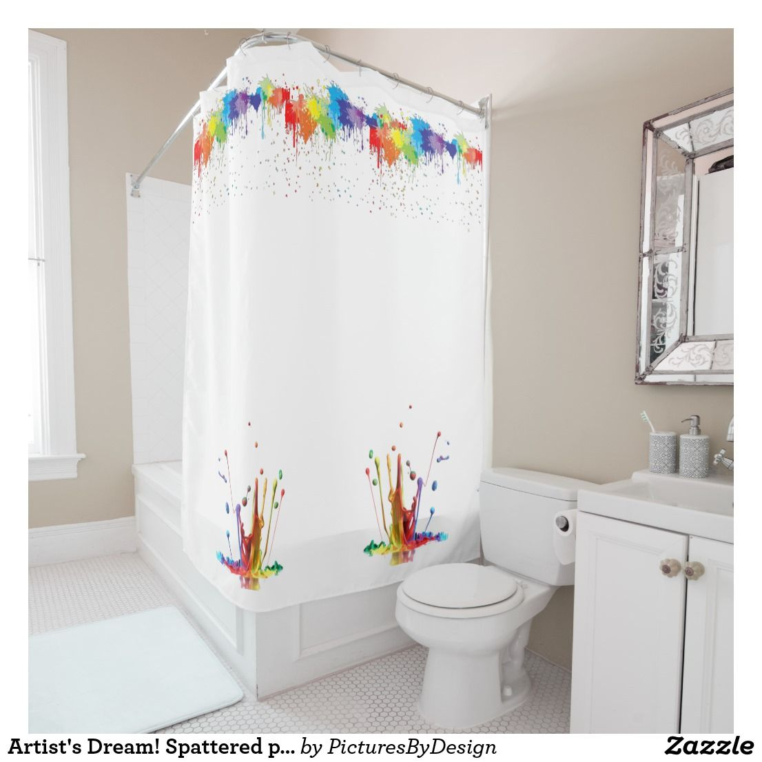 Artist\'s Dream! Spattered paint; multi-colored Shower Curtain | Bath ...