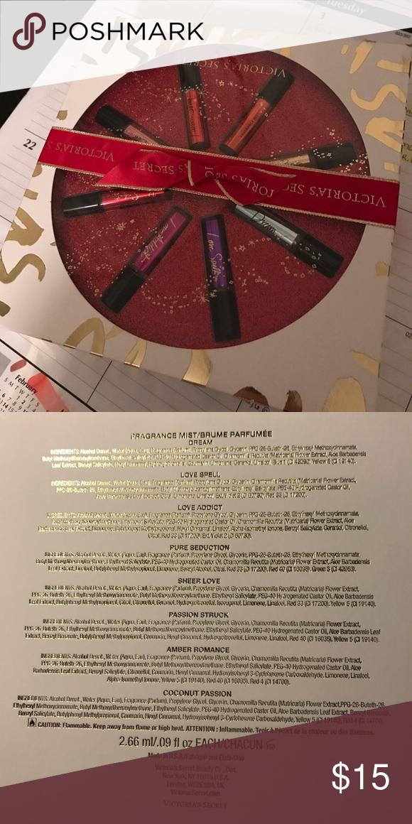 Victoria Secret Gift box of perfume scents include: Dream, Love Spell, Love Addict, Pure Seduction, Sheer Love, Passion Struck, Amber Romance, Coconut Passion Other