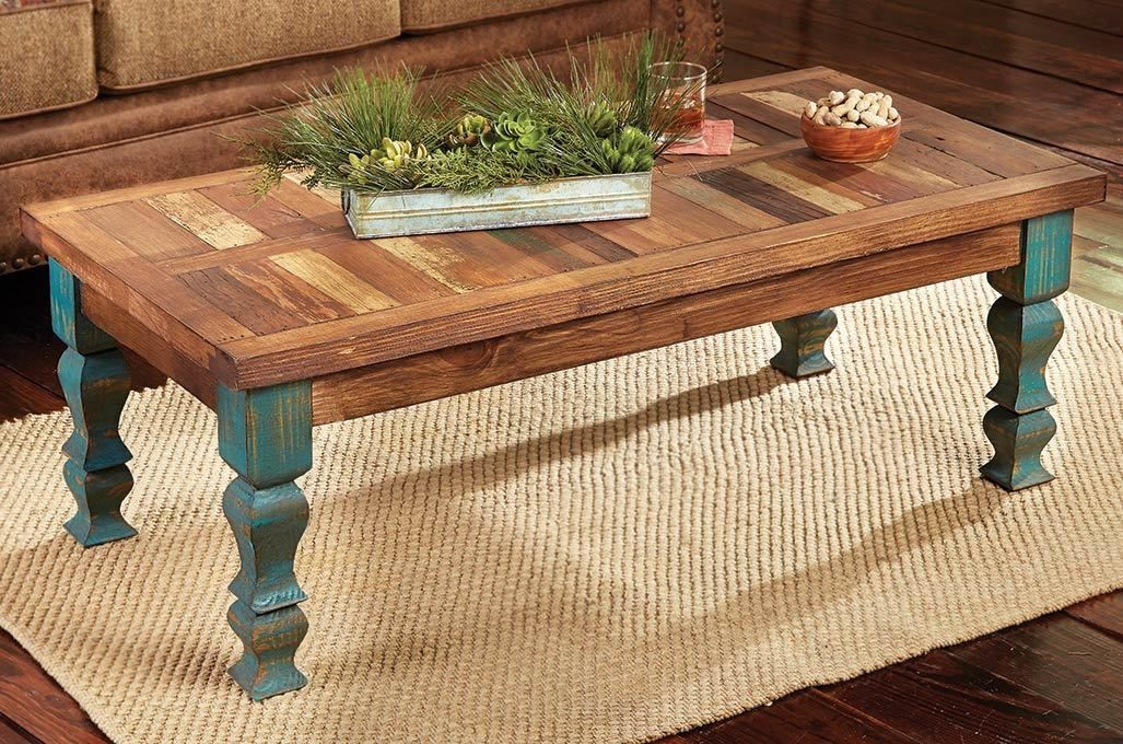 Old Wood Turquoise Coffee Table Rustic Furniture Western Decor