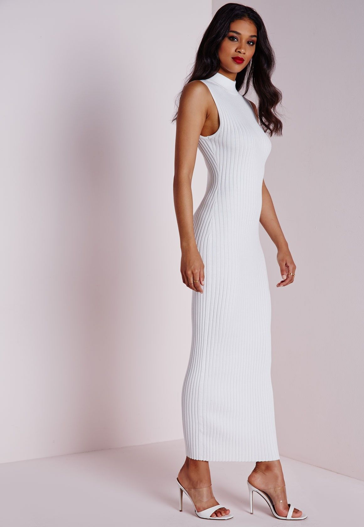 Missguided - Maxi Knitted Rib Dress White   Womenswear   Pinterest ...