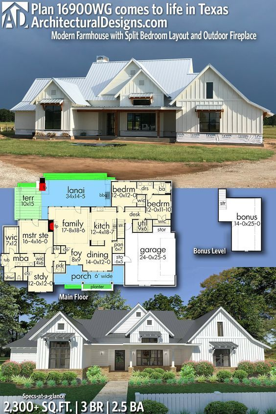 Plan 16900WG  Modern Farmhouse with Split Bedroom Layout and Outdoor     Plan 16900WG  Modern Farmhouse with Split Bedroom Layout and Outdoor  Fireplace   A   P  s House   Pinterest   Architectural design house plans  and House