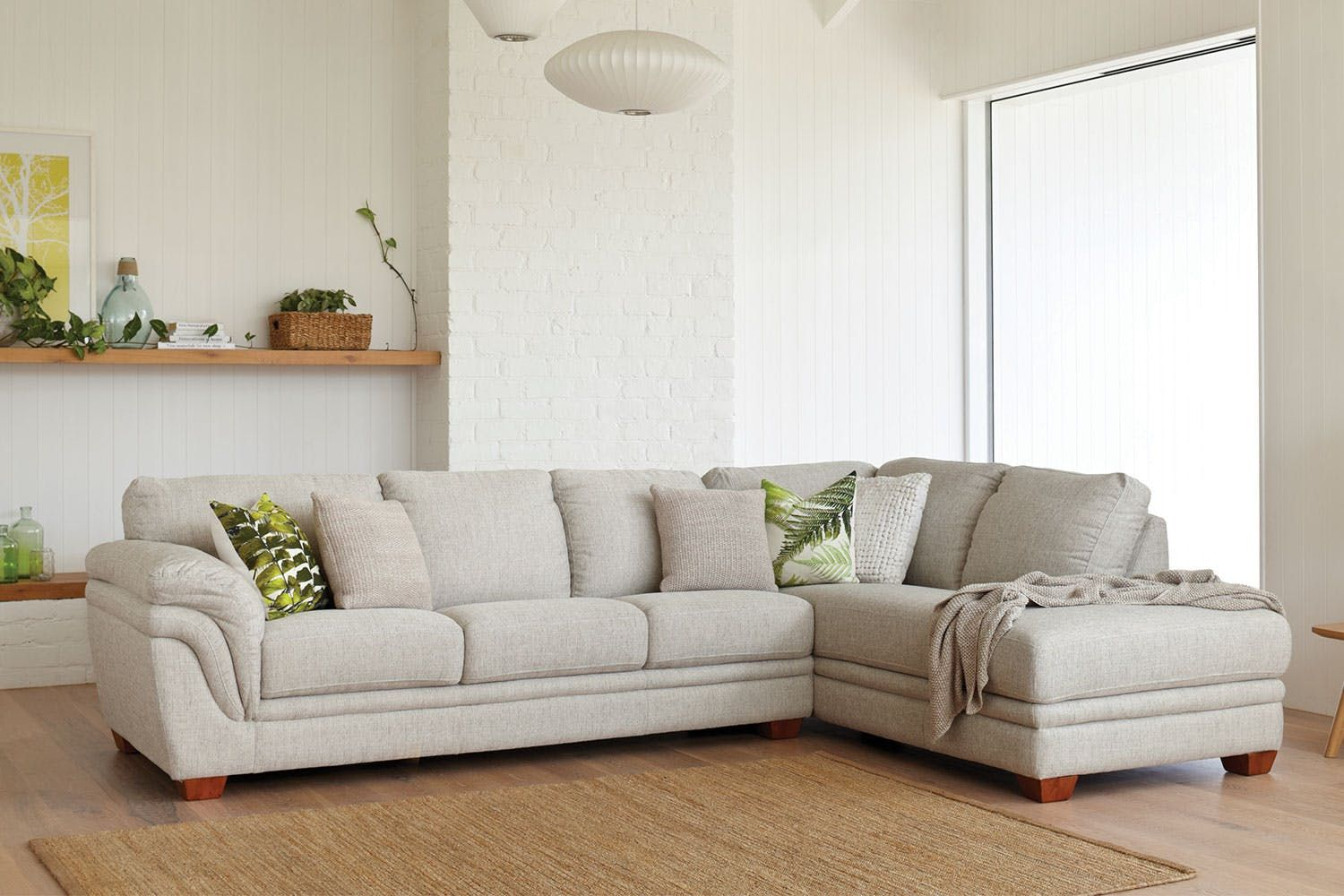 Demi 3 Seater Fabric Lounge with Chaise by La-Z-Boy | Harvey Norman ...