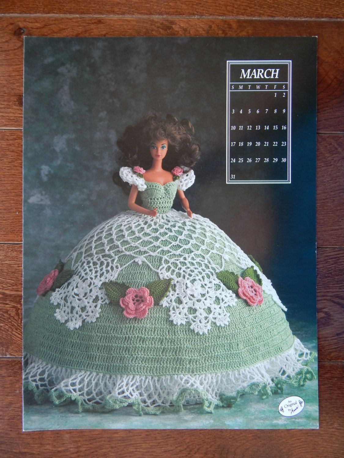 Fashion Doll Crochet Gown Pattern Miss March 1991 Calendar Bed Doll