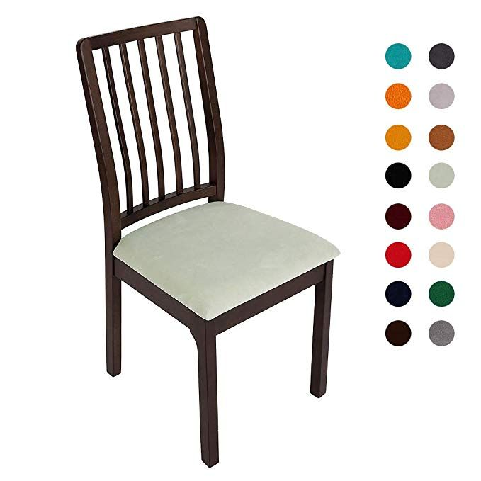 Soft Velvet Dining Room Chair Seat Covers, Stretch Fitted ...